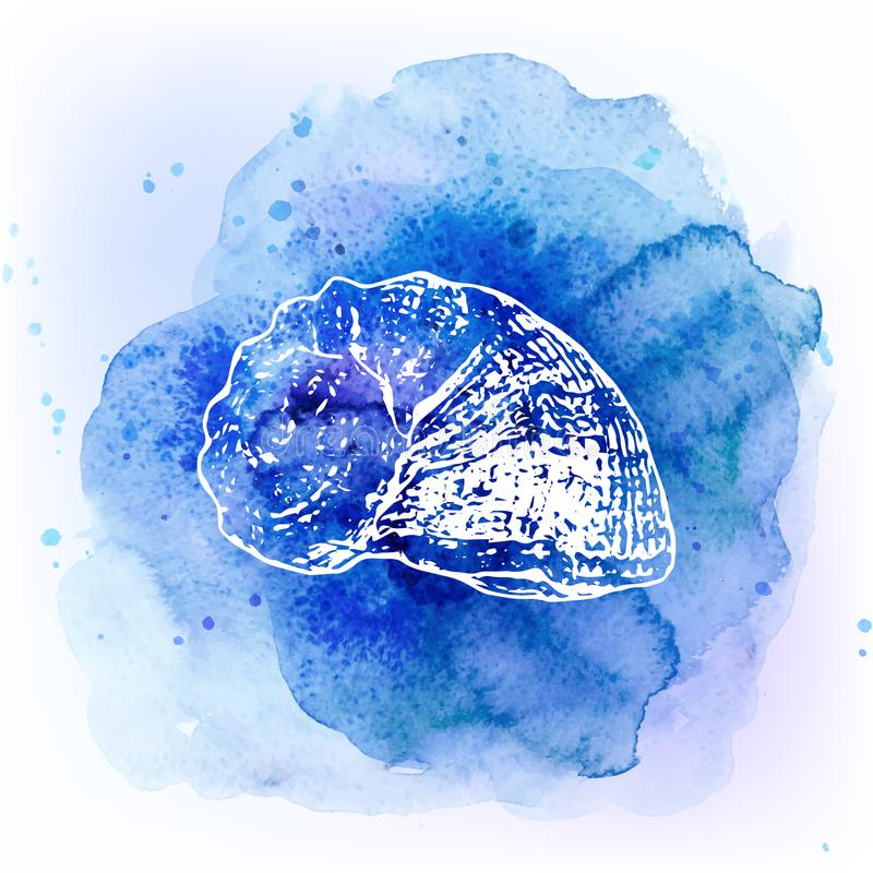 Conchiglie sul fondo del blu dell'acquerello Priorità bassa del mare illustrazione vettoriale