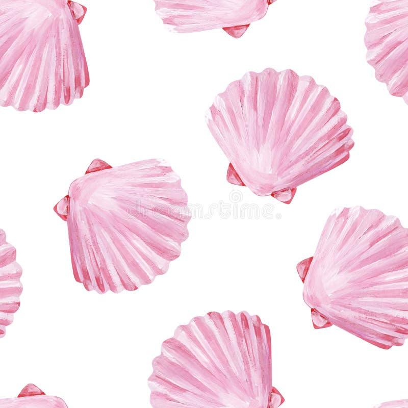 Conchiglie uniformi senza cuciture di rosa della perla della spiaggia di gouache royalty illustrazione gratis