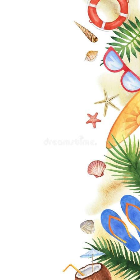 Conchiglie variopinte di vettore dell'acquerello, elementi della spiaggia e foglie tropicali isolati su un fondo bianco royalty illustrazione gratis