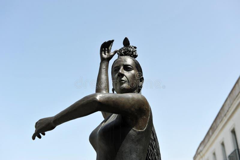 Conchita Aranda, Cadiz flamenco dancer, Santa Maria neighborhood, Andalusia, Spain. Bronze statue of Conchita Aranda, flamenco danser, tribute of the city of stock photography