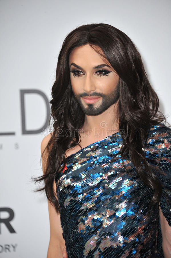 Conchita Wurst. ANTIBES, FRANCE - MAY 22, 2014: Eurovision Song Contest winner Conchita Wurst at the 21st annual amfAR Cinema Against AIDS Gala at the Hotel du stock photo