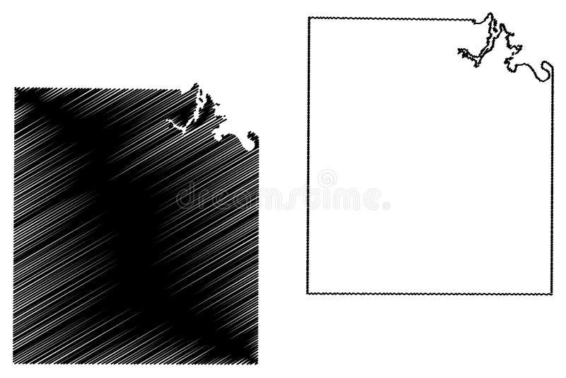 Concho okręg administracyjny, Teksas okręgi administracyjni w Teksas, Stany Zjednoczone Ameryka, usa, U S , USA mapy wektorowa il ilustracja wektor