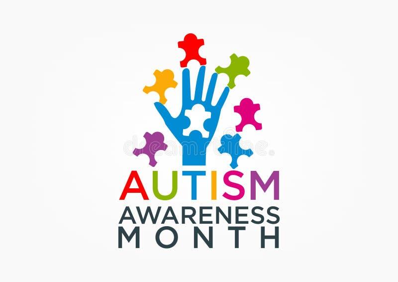 conciencia del autismo ilustración del vector