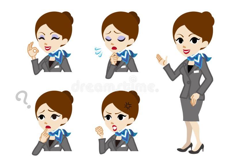 Concierge folujący wyrazu twarzy set i długość ilustracja wektor