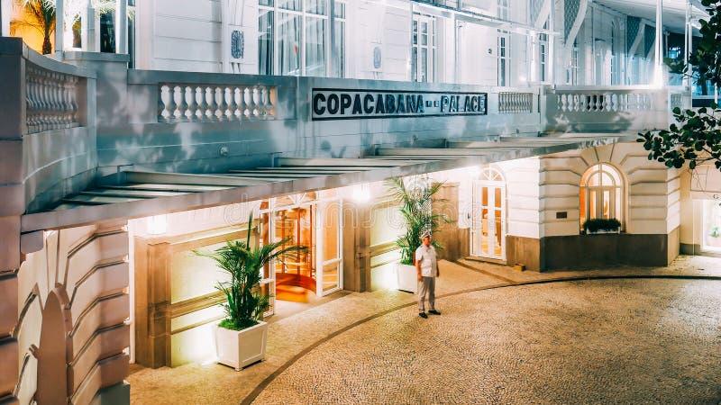 Concierge at main extrance to the luxurious Copacabana Palace Belmond in Copacabana, Rio de Janeiro, Brazil. Rio de Janeiro, Brazil, March 18, 2019: Concierge at royalty free stock photo