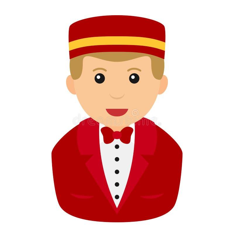 Concierge Man Avatar Flat Icon on White royalty free illustration