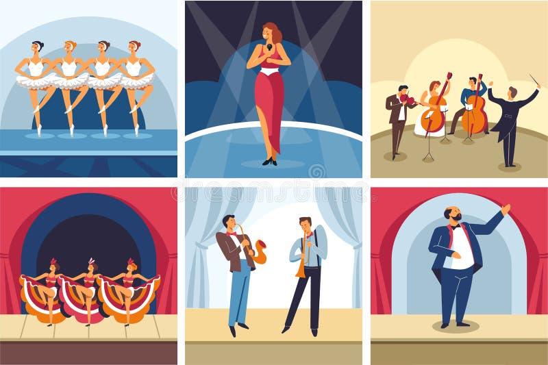 Conciertos que bailan y que cantan ópera de la demostración y orquesta y cabaret del ballet stock de ilustración