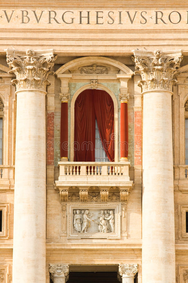 Conclave balcony in St. Peter's Basilica in the Vatican. Conclave window and balcony in St. Peter's Basilica in the Vatican royalty free stock image