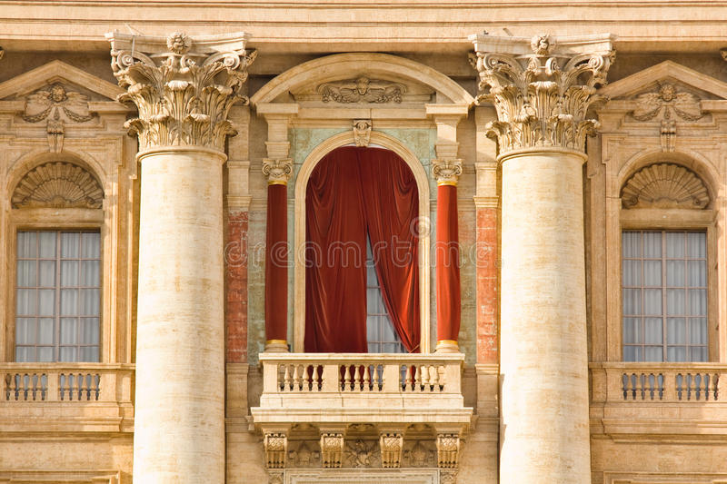 Conclave balcony in St. Peter's Basilica in the Vatican. Conclave window and balcony in St. Peter's Basilica in the Vatican royalty free stock photo