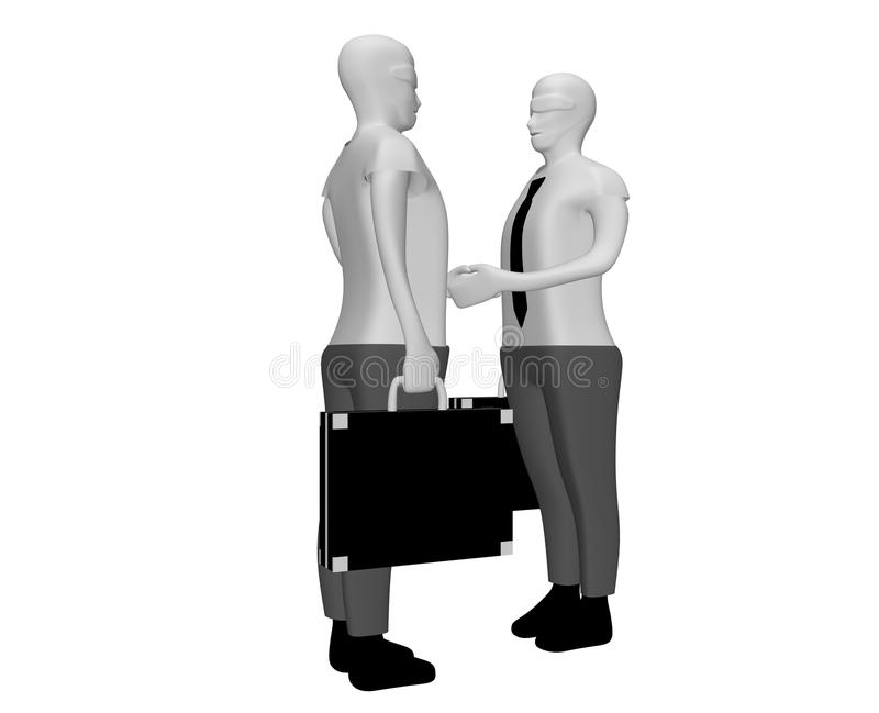 Conclude a bargain. 3D illustration of two people who stringogno hands conclude an affair while working royalty free illustration