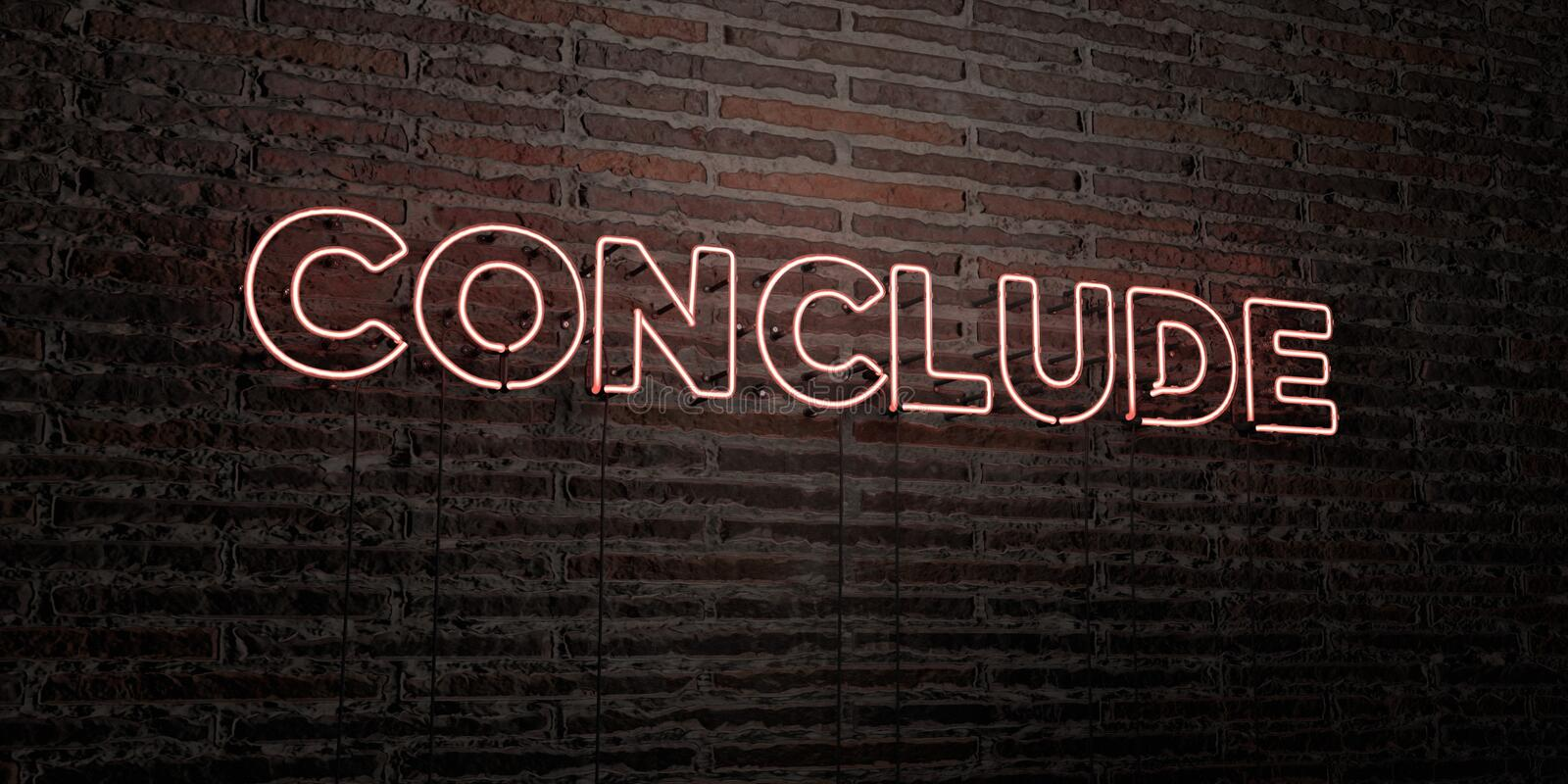 CONCLUDE -Realistic Neon Sign on Brick Wall background - 3D rendered royalty free stock image. Can be used for online banner ads and direct mailers royalty free illustration