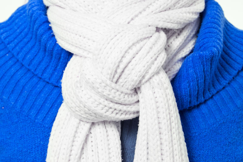 Concluded wool scarf. With blue pulover royalty free stock photos