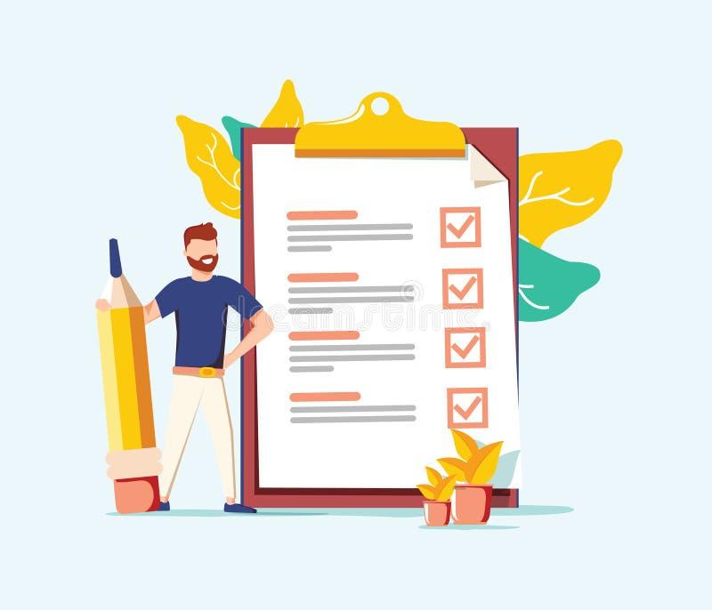 Conclusão bem sucedida de tarefas do negócio Homem de negócio positivo com um lápis gigante em sua lista de verificação próxima d ilustração royalty free