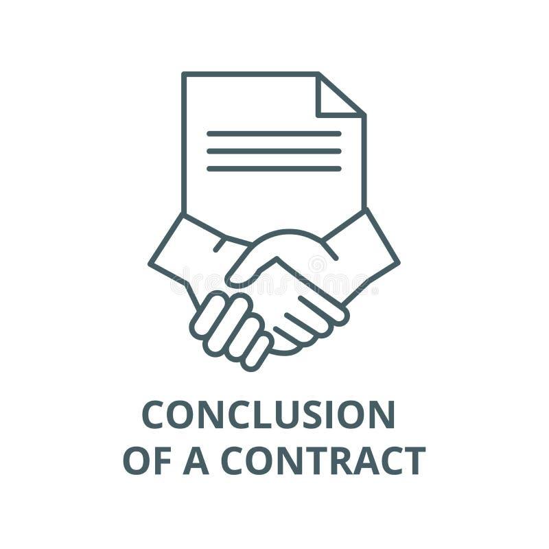 Conclusão de uma linha ícone do contrato, vetor Conclusão de um sinal do esboço do contrato, símbolo do conceito, ilustraç ilustração royalty free