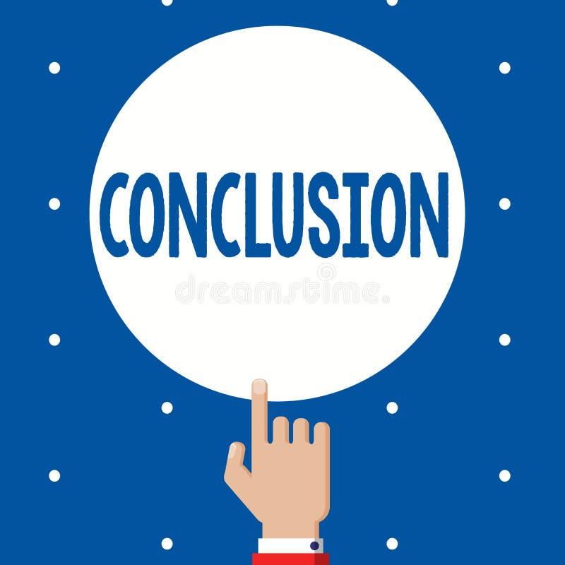 Conclusión del texto de la escritura Final de la decisión final del análisis de los resultados del significado del concepto de un stock de ilustración