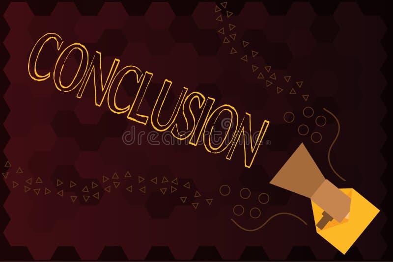 Conclusión del texto de la escritura Final de la decisión final del análisis de los resultados del significado del concepto de un libre illustration