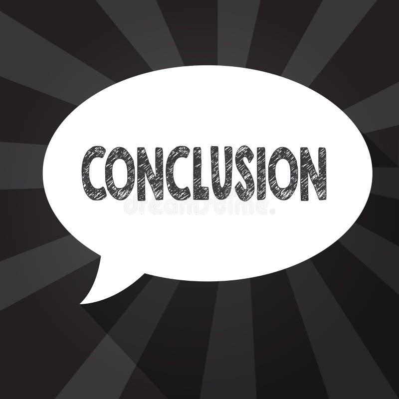 Conclusión del texto de la escritura de la palabra Concepto del negocio para el final de la decisión final del análisis de los re stock de ilustración