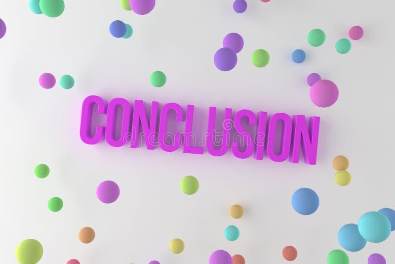 Conclusie, bedrijfs conceptuele kleurrijke 3D teruggegeven woorden Het teruggeven, digitaal, ontwerp & illustratie vector illustratie