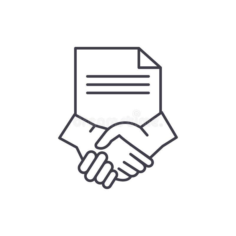 Conclusie van een concept van het contractregelpictogram Conclusie van een contract vector lineaire illustratie, symbool, teken vector illustratie