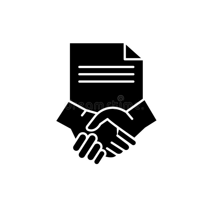 Conclusion of a contract black icon, vector sign on isolated background. Conclusion of a contract concept symbol. Conclusion of a contract black icon, concept vector illustration