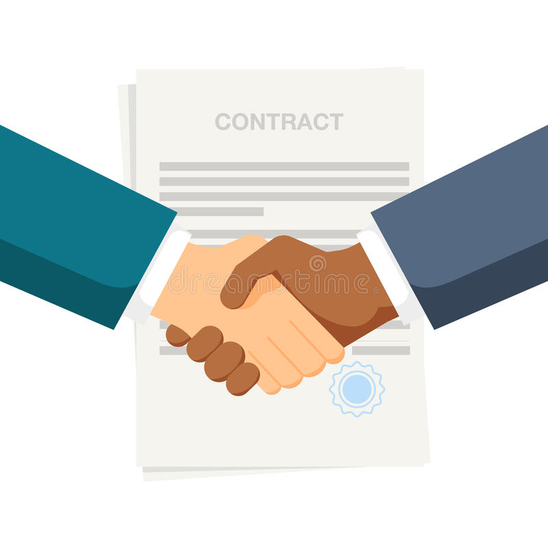 Conclusion of a contract. Handshake two businessmen. Black and white people. Vector, illustration EPS10. stock illustration
