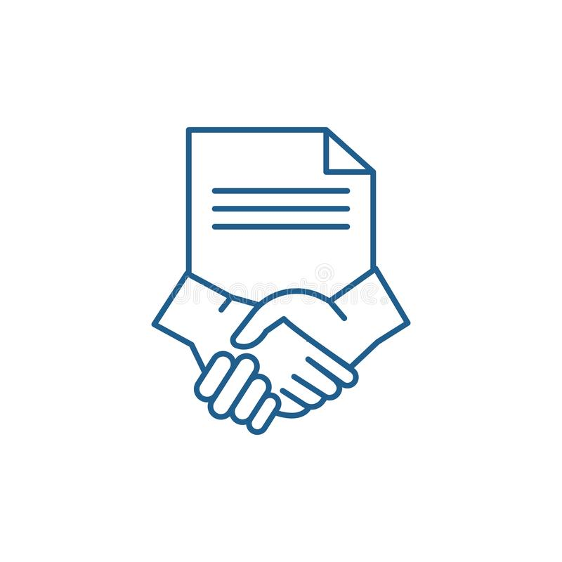 Conclusion of a contract line icon concept. Conclusion of a contract flat  vector symbol, sign, outline illustration. royalty free illustration