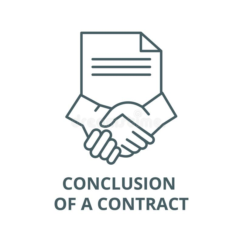 Conclusion of a contract line icon, vector. Conclusion of a contract outline sign, concept symbol, flat illustration royalty free illustration