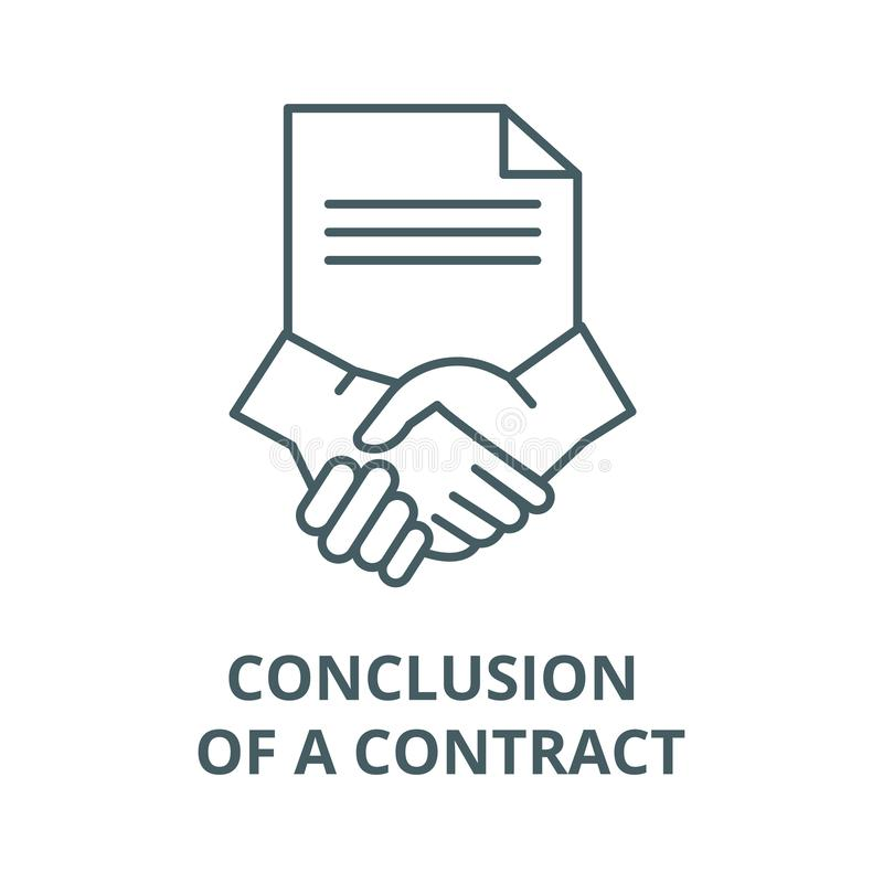Conclusion of a contract vector line icon, linear concept, outline sign, symbol vector illustration