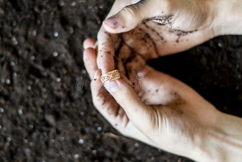 Conclusion d'un anneau d'or précieux dans l'au sol f de sol images libres de droits