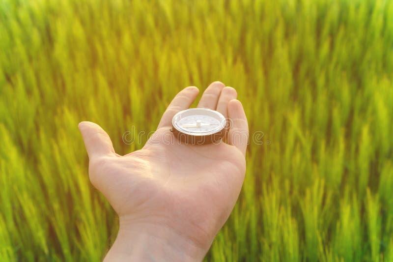 Conclusion d'une direction en nature sur un champ de blé Une main du ` s d'homme tient une boussole photos libres de droits