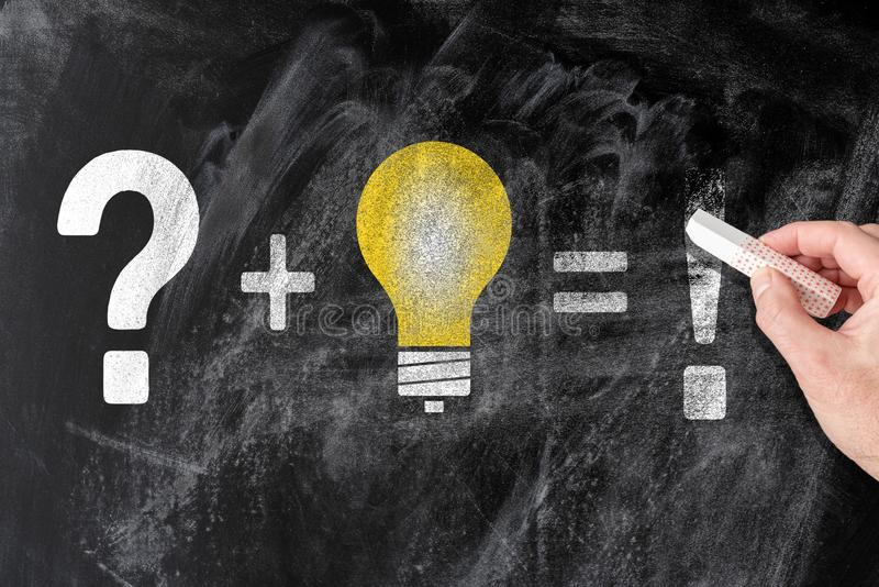 Conclusion de la solution pour le problème et le concept d'innovation sur le tableau noir photo stock
