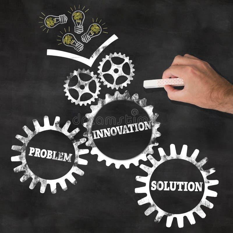 Conclusion des solutions par le concept d'innovation et d'idées sur le tableau photographie stock libre de droits