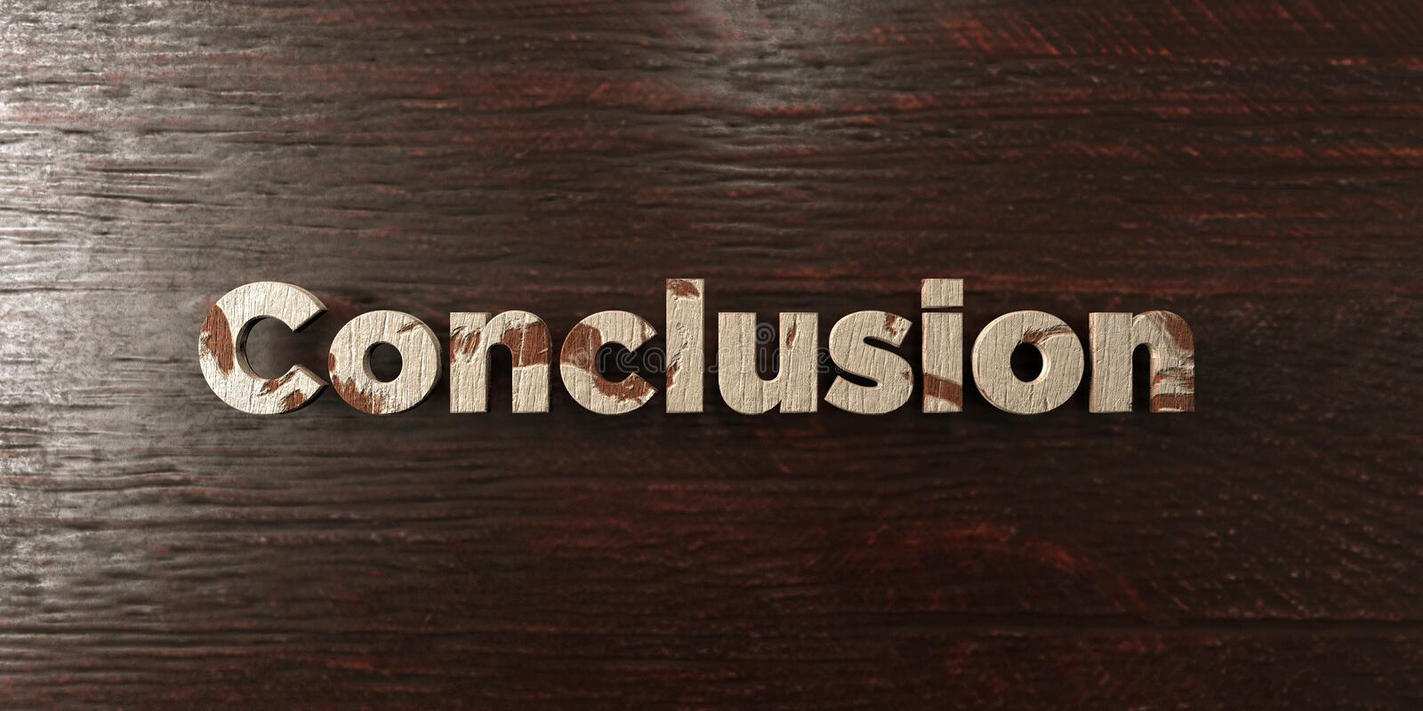 Conclusion - grungy wooden headline on Maple - 3D rendered royalty free stock image. This image can be used for an online website banner ad or a print postcard royalty free illustration