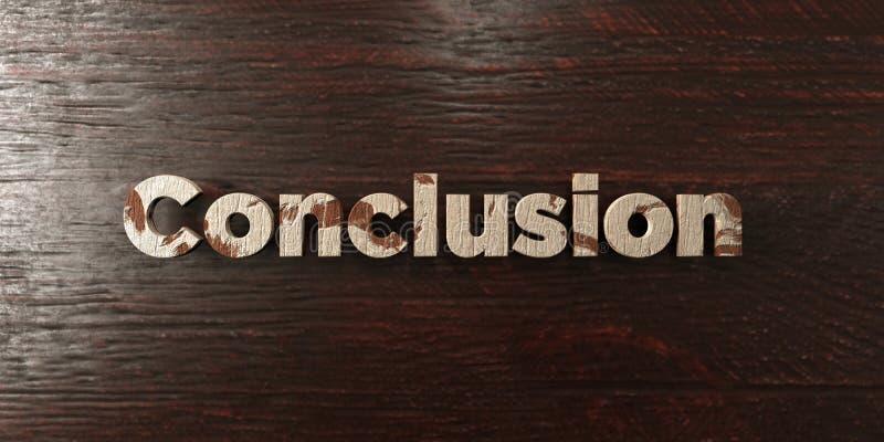 Conclusion - titre en bois sale sur l'érable - image courante gratuite de redevance rendue par 3D illustration libre de droits