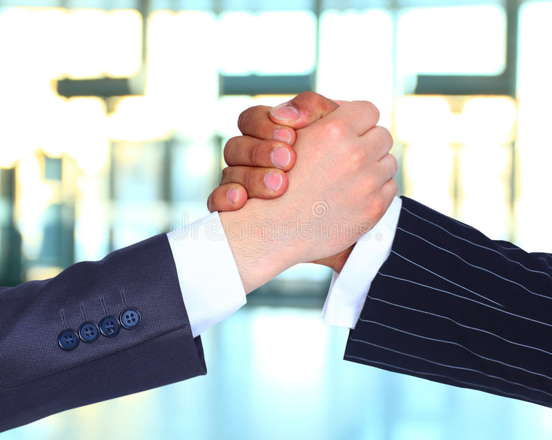 The conclusion of the transaction. Businesspeople Hand shake royalty free stock photos