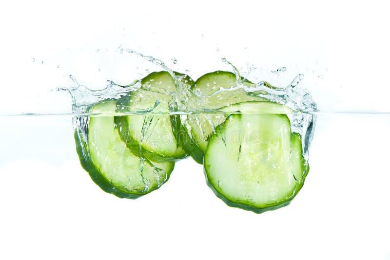 Concombre dans l'eau images stock