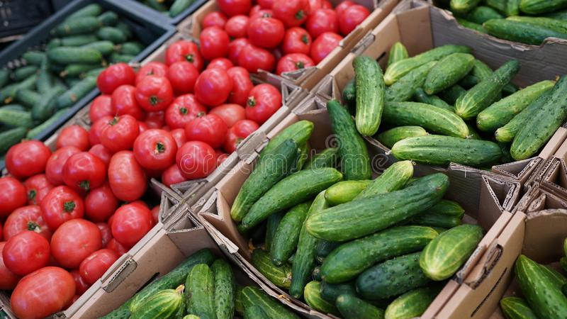 Concombres de légumes frais, tomates à vendre sur le marché d'agriculteurs nourriture saine de stock image libre de droits