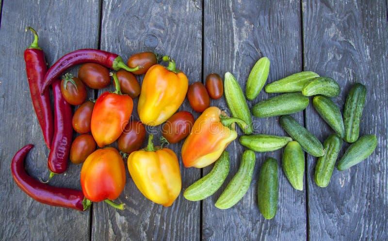 Concombres de légumes, tomates sur la table en bois photographie stock libre de droits