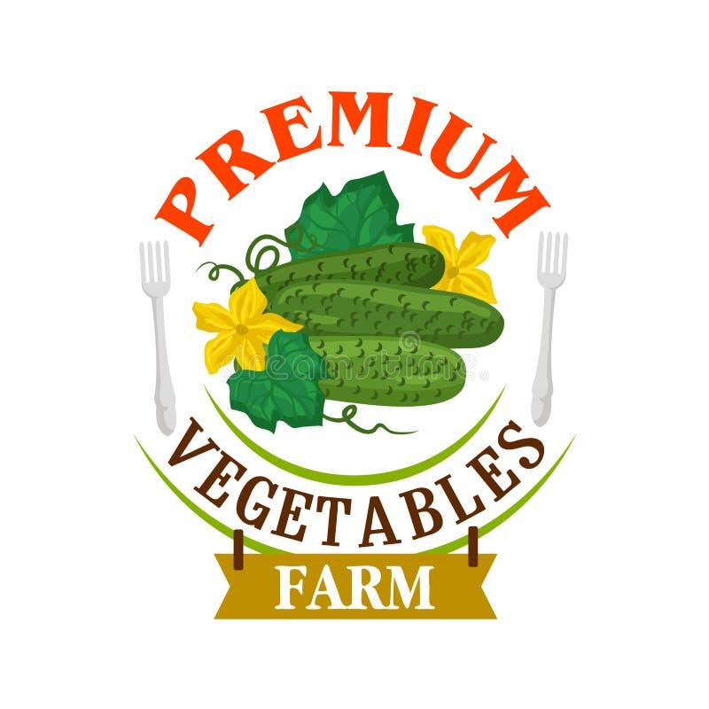 Concombres frais de ferme Emblème sain de légumes illustration de vecteur