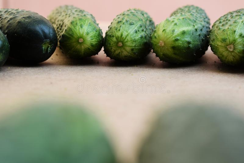 Concombres verts frais L?gumes et nourriture utiles Nourriture v?g?tarienne Le concombre contient des vitamines du groupe B, A images libres de droits