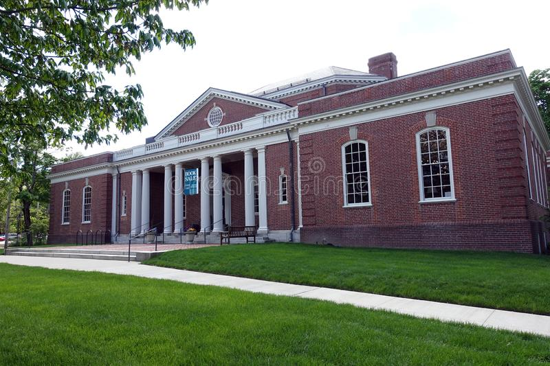 Concord Free Library in Downtown Concord, Massachusetts. Concord Free Library in the Town`s Center stock photo