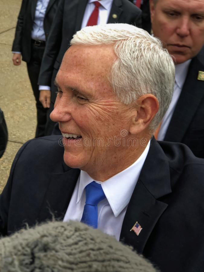 Concord, New Hampshire - November 2019 - Vice President Pence Laughs royalty free stock image