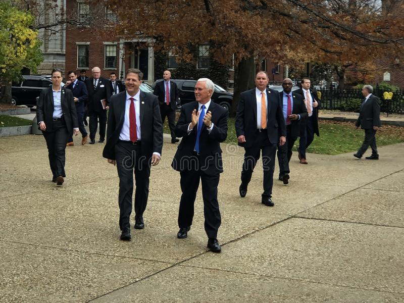 Concord, New Hampshire - November 2019 - Vice President Pence and Team arrive at the State House - Landscape royalty free stock photography