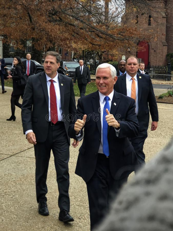 Concord, New Hampshire - November 2019 - Vice President Pence Thumbs Up Arriving at the State House - Portrait stock photo