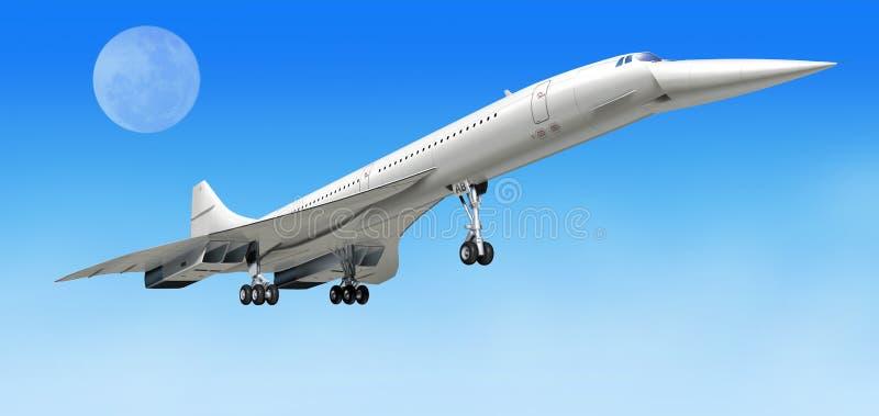 Concorde-entfernen sich Überschallpassagierflugzeugflugzeuge, während. lizenzfreie abbildung