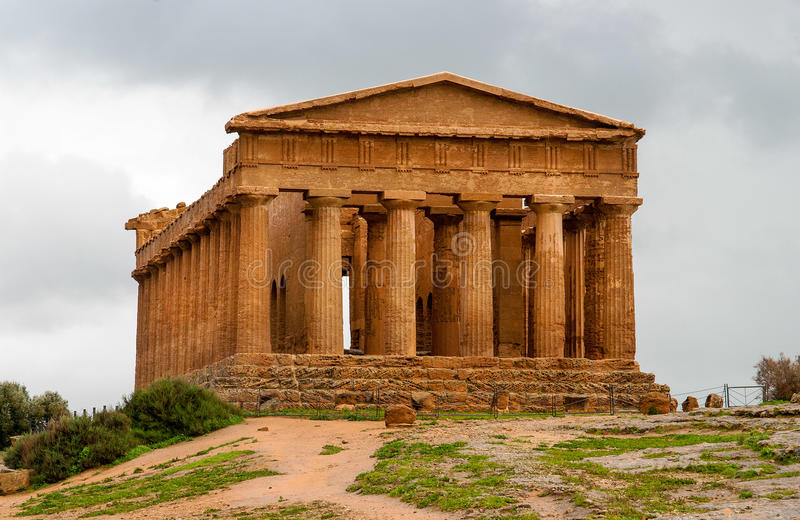 Concordia,阿哥里根托,西西里岛,意大利寺庙  免版税库存照片