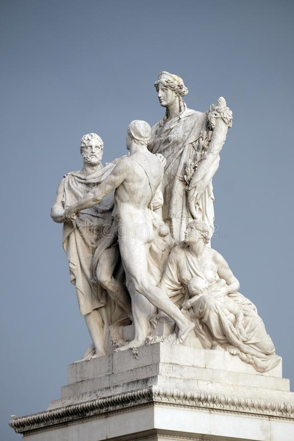 The Concordia, pacification between the monarchy and the people. Altare della Patria Venice Square, R. The Concordia by Varese Ludovico Pogliaghi, pacification royalty free stock photos