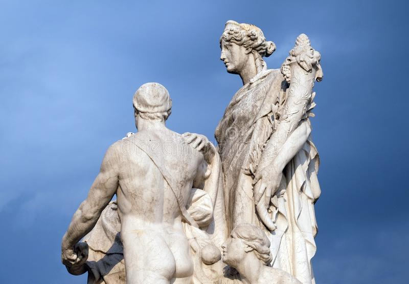 The Concordia, pacification between the monarchy and the people. Altare della Patria Venice Square, R. The Concordia by Varese Ludovico Pogliaghi, pacification stock photo