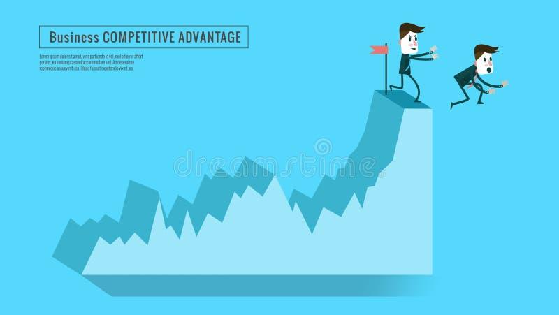 Concorrente di spinta dell'uomo d'affari giù dal grafico superiore illustrazione di stock