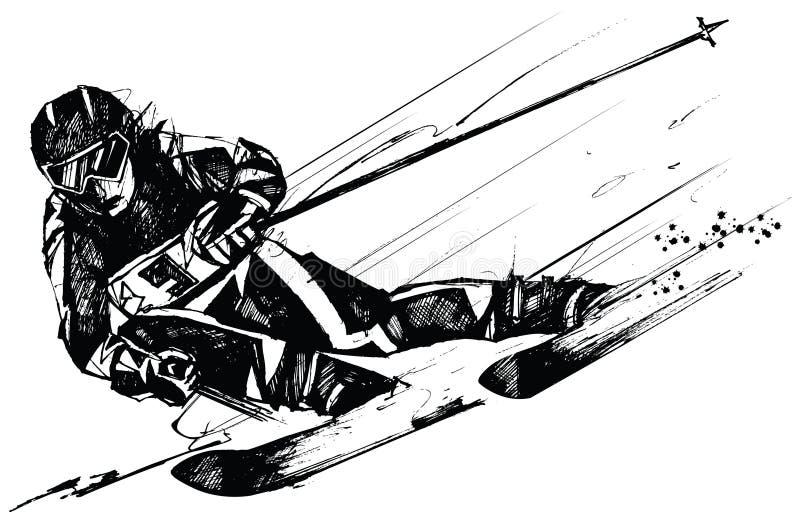 Concorrente do esqui na ação ilustração royalty free